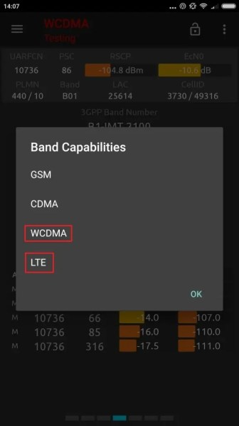 Lock Bands LTE WCDMA