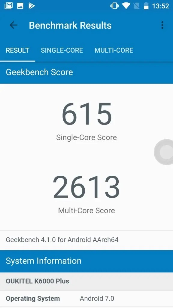 OUKITEL K6000 Plus Geekbench 615