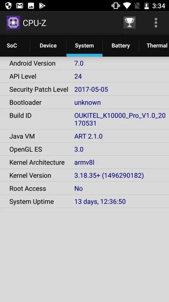 OUKITEL K10000 Pro CPU-Z3