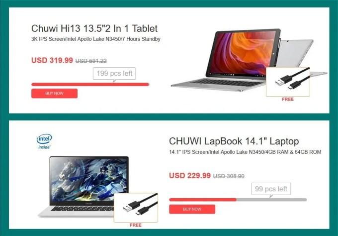 数量限定 Chuwi Hi13・Chuwi LapBook 14.1 Laptop