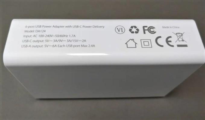 dodocool 60W 6ポート USB急速充電器 裏