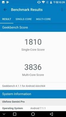 Ulefone Gemini Pro Geekbench 1810