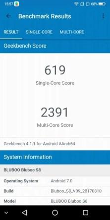 BLUBOO S8 Geekbench 619