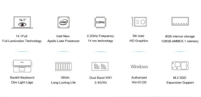 Chuwi Lapbook Air  商品画像 sペック