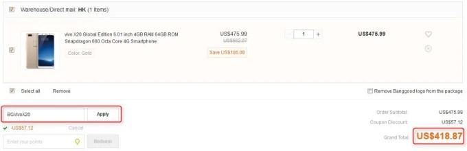 vivo X20 Global Edition 6.01 inch 4GB RAM 64GB ROM Snapdragon 660