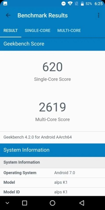 KOOLNEE K1 GeekBench 620
