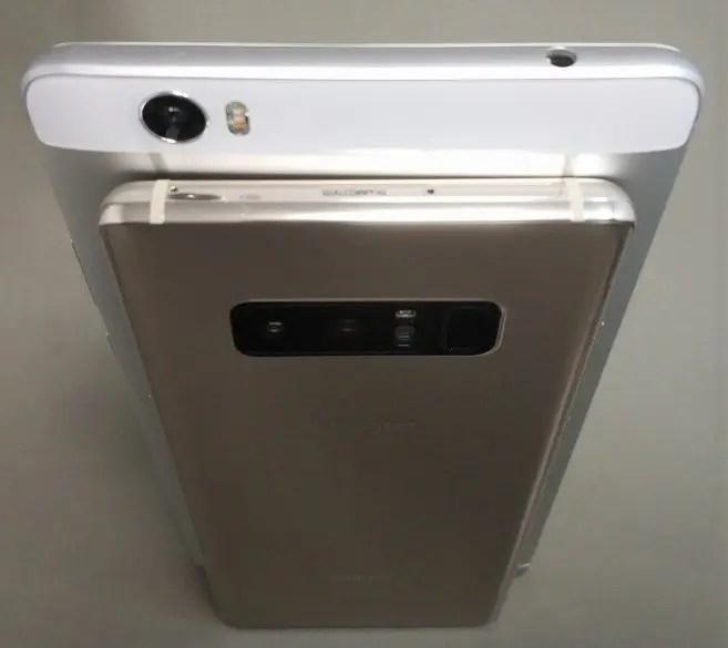 6インチ台16:9Huawei honor note 8 VS 18:9 Galaxy note 8・OnePlus 5Tとサイズ比較 重ね 斜め