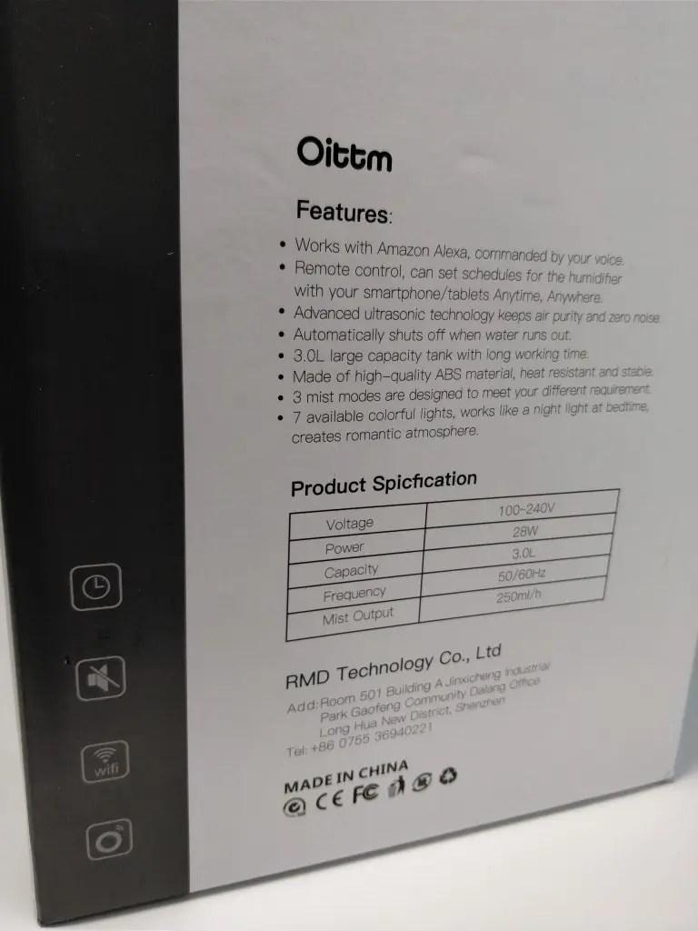 Oittm 超音波式3L スマート加湿器 化粧箱 裏