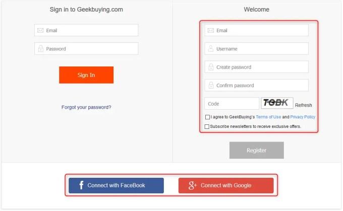 GeekBuyingユーザー登録ページ