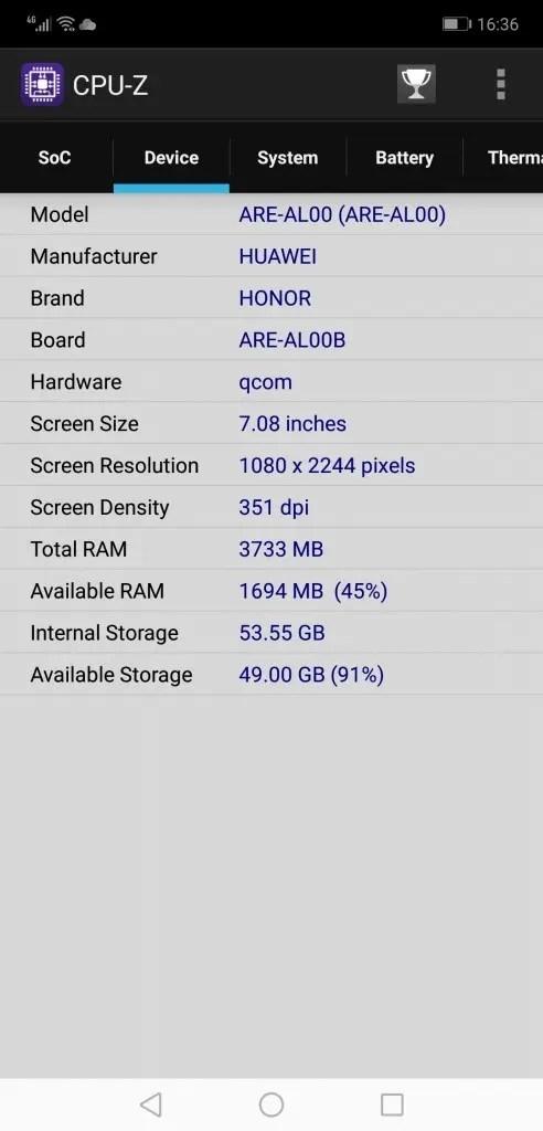 Huawei Honor 8X Max CPUZ2