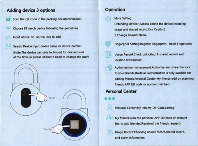OKLOK Fingerprint Keyless Anti-theft Smart Lock 取説2