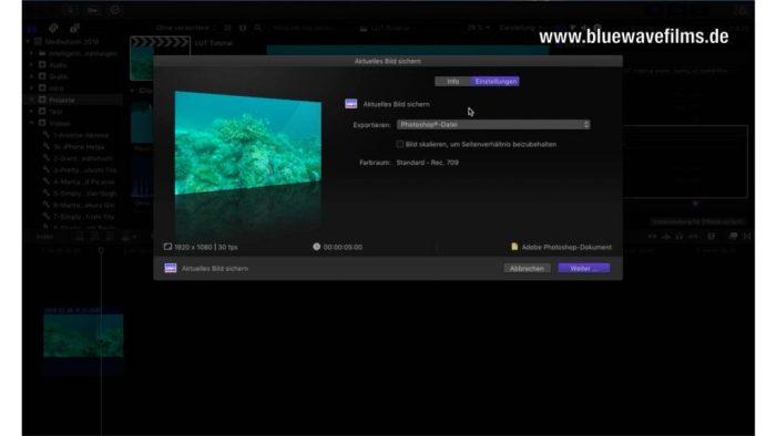 Farbkorrektur von Unterwasservideos - Export