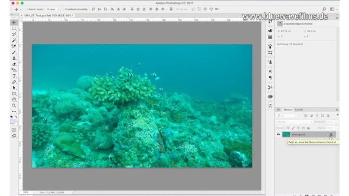 Farbkorrektur von Unterwasservideos - Hintergrundebene