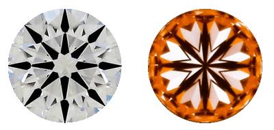 vista superior y vista inferior de los diamantes súper ideales