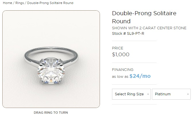 double prong solitaire setting in platinum