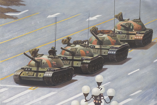 Tiananmen Square: You can add the person to painting when you get it, 2005, Michael Mandiberg