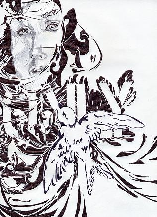 """Only For Pretend, ink on paper, 18""""x24"""", Pahole Sookkasikan, 2009"""