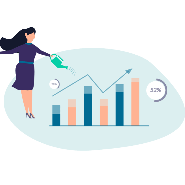 Graphic of woman watering chart of enterprise level growth
