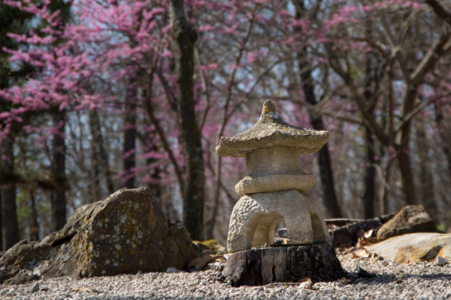 Small stone temple at Osage Forest of Peace