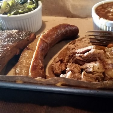 The meaty sampler platter I had at Smoke and Barrel