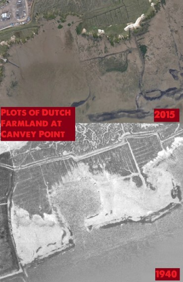 Dutch Farm Plots Remaining along with the Seawall - still the main pathway out across Canvey Point