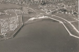 Photo of Thorney Bay with the dam. Courtesy of the Bay Museum.