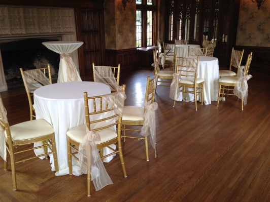 Rollins Mansion - Champagne Mirror Sashes with Ivory and Beige Linens