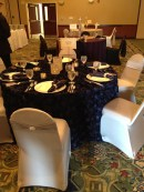 Navy Rosette Tablecloth