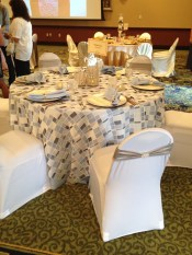 Mosaic overlay & light blue tablecloth