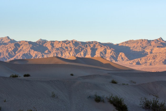 Death Valley sand dunes at sunset