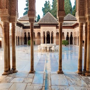Alhambra Courtyard of the Lions in Granada Spain