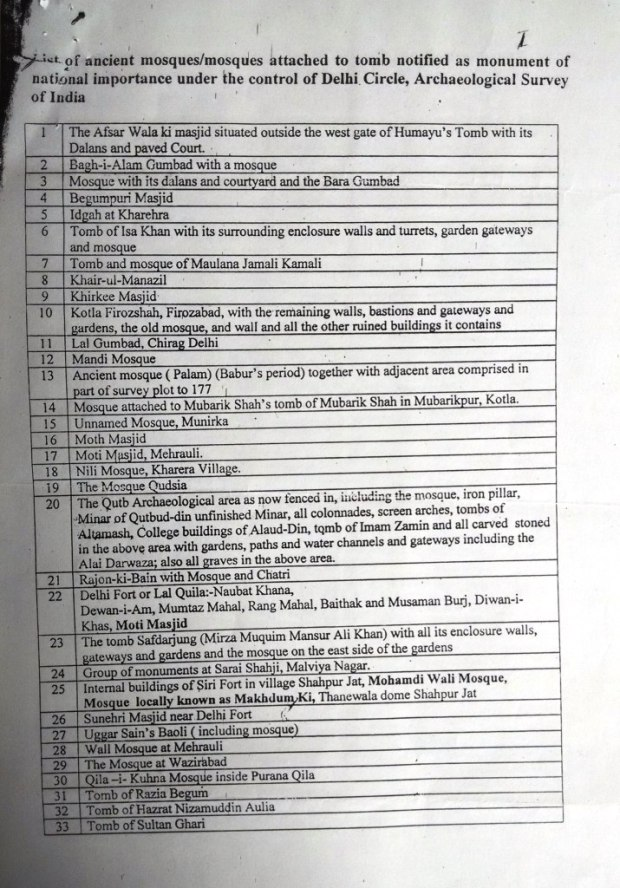List of Mosque and Dargah under ASI