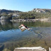 Jumping into freezing Waugh Lake