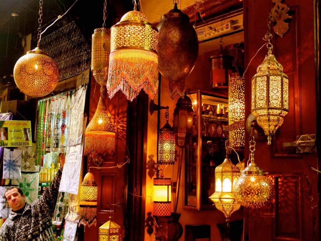 Lanterns in the Bazaar in Fez, Morocco