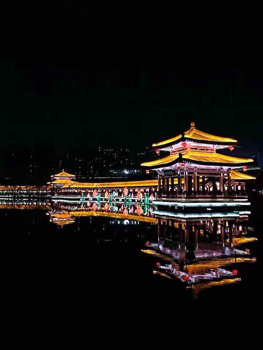 Lit up Chinese wall in Xi'an, China on Chinese New Years