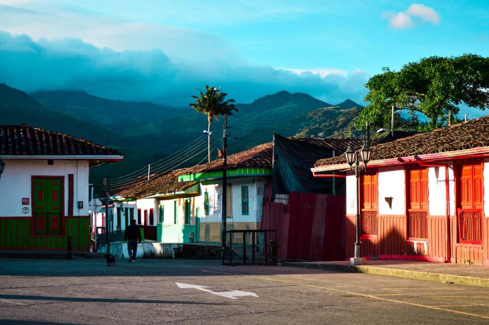 Sunrise in Salento town center, Colombia