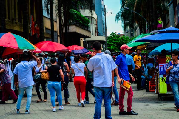 El Hueco with lots of people in Medellin, Colombia