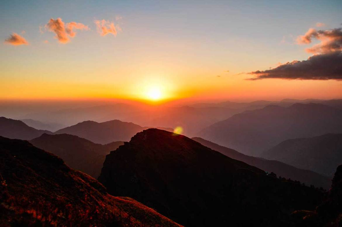Mountain peak during a beautiful sunset, Chopta, Uttrakhand, India