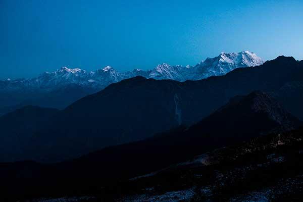 Mountain peak during a beautiful sunrise, Chopta, Uttrakhand, India