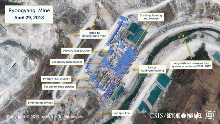 Closeup view of the main Ryongyang Mine, April 29, 2018. (Copyright 2019 by Maxar Technologies)