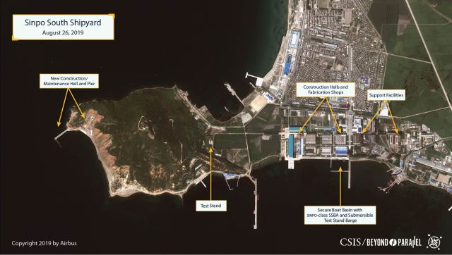 Overview of the Sinpo South Shipyard as seen on August 26, 2019 (Copyright © 2019 Airbus)
