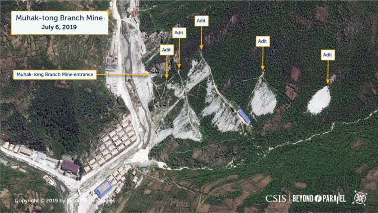 The Muhak-tong Branch Mine, showing the mine entrance, the numerous adits above it, and the mine support buildings, July 6, 2019 (Copyright 2019 by Maxar Technologies)