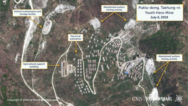 Overview of the Puktu-dong area and abandoned surface mining activity, Taehung Youth Hero Mine, July 6, 2019. (Copyright 2019 by Maxar Technologies)