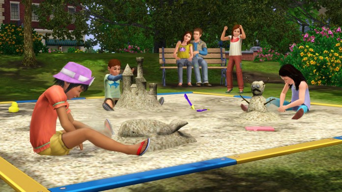 Playing in the sandpit in The Sims 3 Generations