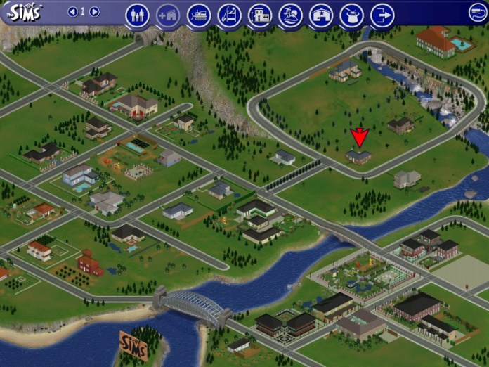 A view of houses in The Sims 1