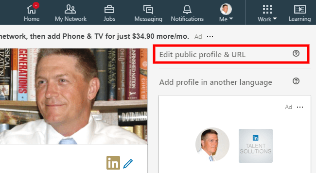 Screenshot - Edit Public Profile URL