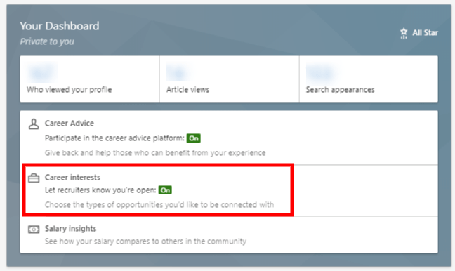 Screenshot: LinkedIn - Dashboard Career Interests