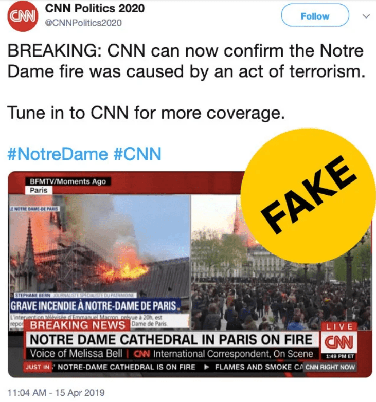 Fake CNN Twitter account spread lies about cause of Notre Dame Cathedral fire