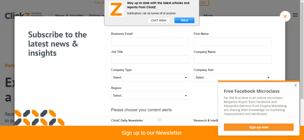 Screenshot: Popup windows on ClickZ