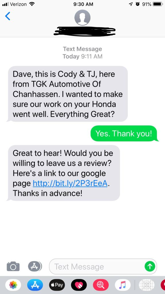 TGK Automotive of Chanhassen text message marketing